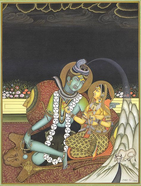 Emergence of Ganga from Shiva's Coiffure (A Fine Painting), Hindu Water Color Painting on PaperArtist: Kailash Raj