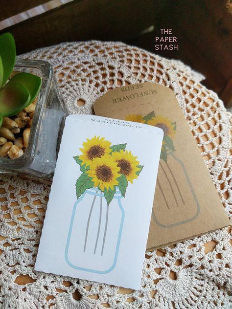 Sunflower, Seed Packet, Custom, Mason Jar, Country Wedding, Autumn, Sunflower Seeds, Wedding Favours, Wedding Favors, Fill Your Own, PREMADE#autumn #country #custom #favors #favours #fill #jar #mason #packet #premade #seed #seeds #sunflower #wedding