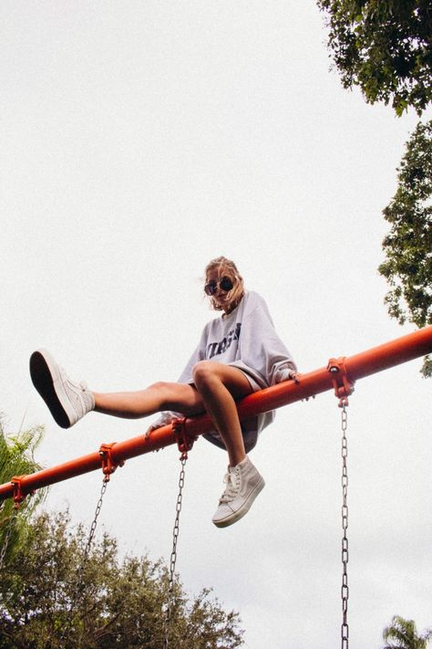 See more of kenziescarola's VSCO. Playground Photo Shoot, Playground Photography, Cute Poses For Pictures, Picture Poses, Photo Poses, Fashion Photography Poses, Creative Photography, Vsco Photography Inspiration, Creative Photoshoot Ideas