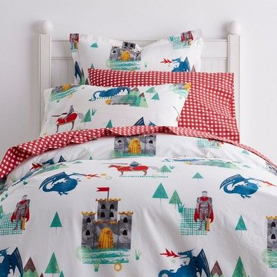 Knights Dragons Kids Cotton Percale Duvet Cover Sham Duvet Covers Twin Kids Duvet Cover Duvet Covers