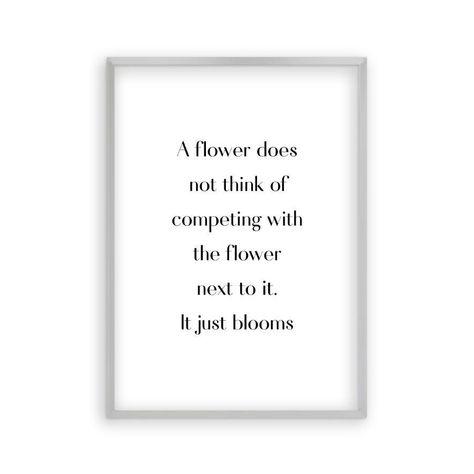Flower Motivational Print - Matt Silver Frame / 8 x 12