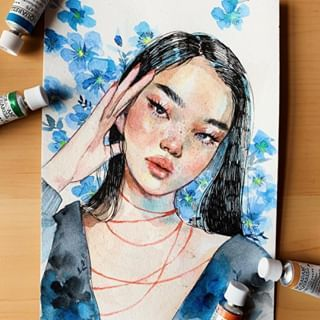 0073 Uv Created This Beautiful Portrait Using Watercolor On