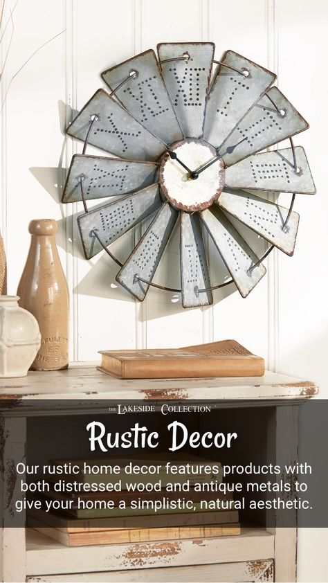 Embrace the beauty of natural materials, distressed finishes and cleverly repurposed decor—our rustic country decor collection can be mixed and matched with a variety of design styles for a unique country look.  #farmhouse #rustic #rusticdecor #antiquemetal #distressedwood #countrylook #countrystyle #rusticcountry