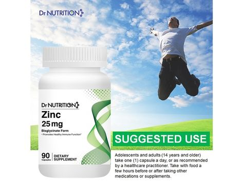 Dr Nutrition 360 Zinc 25 Mg Promotes Healthy Immune Function 90 Capsules 3 Months Supply Dietary Supplement In 2020 Immune Function Dietary Capsule
