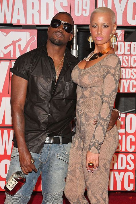 Kanye West Amber Rose Photos - Kanye West and Amber Rose arrives at the 2009 MTV Video Music Awards at Radio City Music Hall on September 2009 in New York City.Amber Rose Cocktail Ring - Big and bold, this gold ring matches Amber's choker necklace.