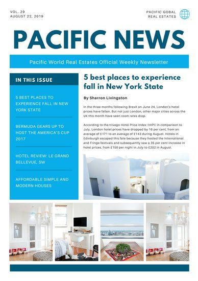 Blue And White Photo Collage Real Estate Newsletter With Images