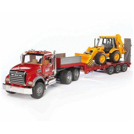 Bruder Toys Mack Granite Flatbed Truck W Low Loader Jcb Loader Backhoe 02813 Multicolor Toy Trucks Trucks Mack Trucks