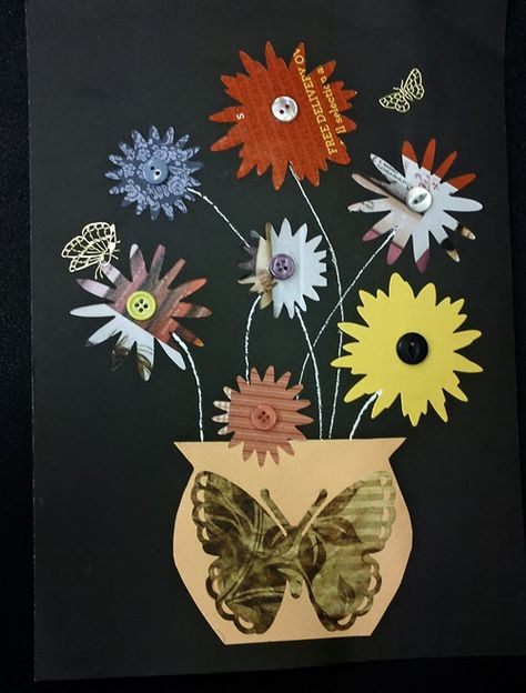 Craft and Other Activities for the Elderly: Butterflies and Flowers Collage in a Vase.
