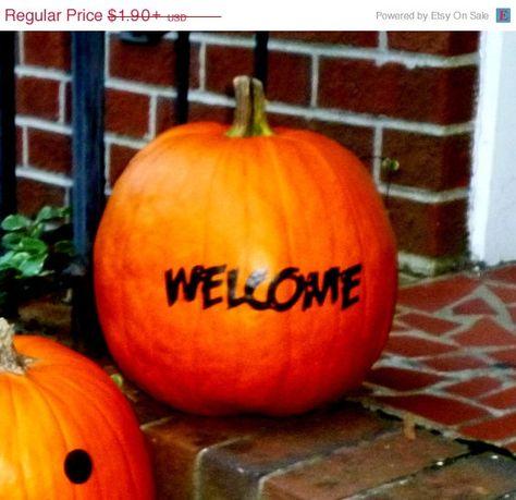BACK2SCHOOL Sale Welcome Pumpkin Decal DIY by Crafterpillar, #crafterpillar #DIY #vinyl #decals #personalizeddecals #customdecals #customvinyl #vinylnamestickers #cutedecals #glowinthedarkdecals #walldecals #DIYcrafterpillardecal #bachelorette #partydecals #guestfavors #back # to # school #backtoschool #fall #halloween #decor # Black #Friday