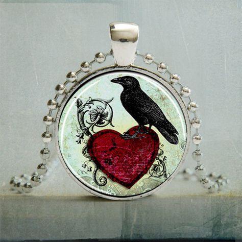Black Raven Art Pendant Bird Pendant Necklace by backbonestudio2, $10.95
