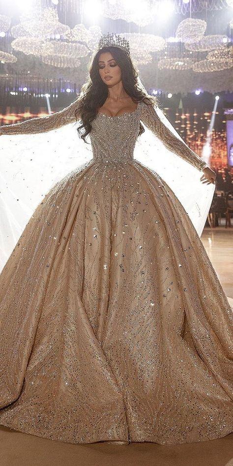 30 Stunning Long Sleeve Wedding Dresses For Brides❤long sleeve wedding dresses ball gown sweetheart neckline said mhad❤#weddingdresses