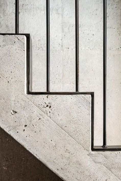 Concrete and steel stair detail in Major House in Münster, Germany by Roman Hutter Architektur.