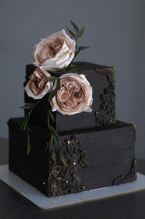 ideas for cupcakes decoration ideas wedding cake tutorial Burgundy Wedding Cake, Black Wedding Cakes, Unique Wedding Cakes, Wedding Cake Designs, Vintage Wedding Cake Toppers, Wedding Pastel, Wedding Ideas, Wedding Themes, Trendy Wedding