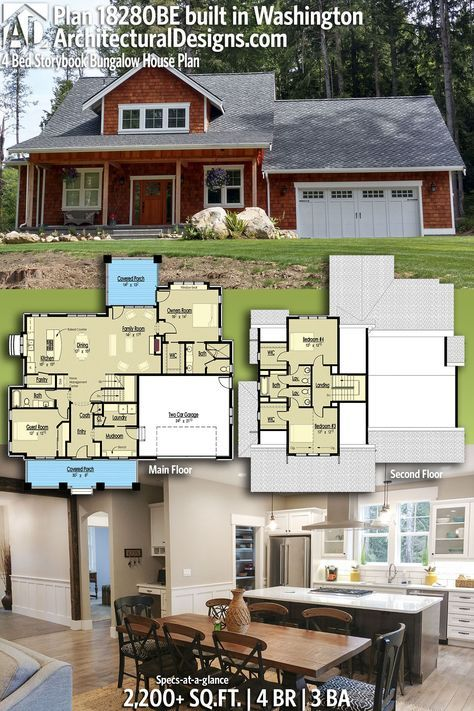 Plan 18280be 4 Bed Storybook Bungalow House Plan Bungalow House Plans Architectural Design House Plans House Plans