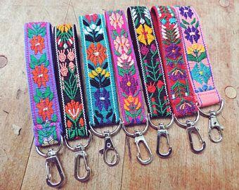 Floral Key Fob Floral Keychain Pretty Key Chain Wrist Lanyard Wristlet Keychain Fob Key Flowers Wristlet Keychain Wrist Lanyard Boho Keychain