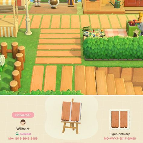 A plank path that matches the wooden stairs. Check my MA-id for the full set. Qr Code Animal Crossing, Animals Crossing, Animal Crossing Guide, Animal Crossing Qr Codes Clothes, Wooden Path, Wooden Stairs, Motif Tropical, Motif Acnl, Ac New Leaf