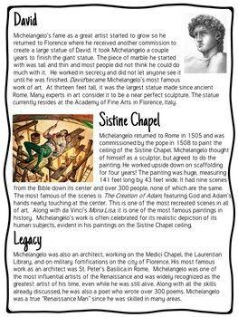 Michelangelo Biography Reading Comprehension Worksheet Renaissance Artists Michelangelo Renaissance Artists Artist Research Page