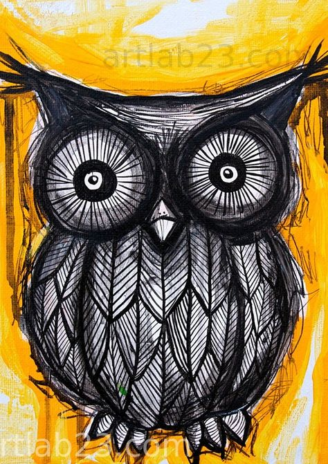 Black Owl Painting owl painting - love the simplicity of the design as the illustration is incredibly intricate by Asmodel