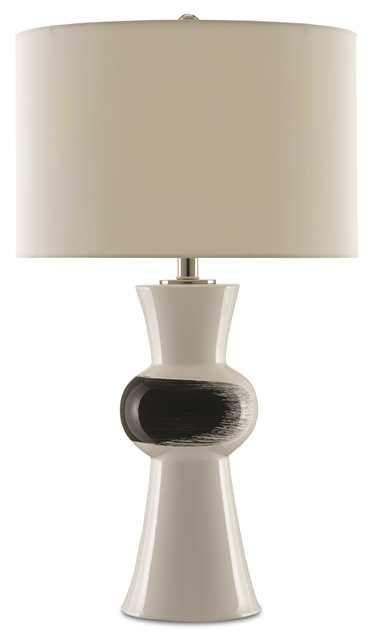 Pincelada Table Lamp From Currey And Company White Ceramic Black Brush Stroke Table Lamp Lamp Table Lamp Design