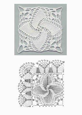 Square Motif free crochet graph pattern