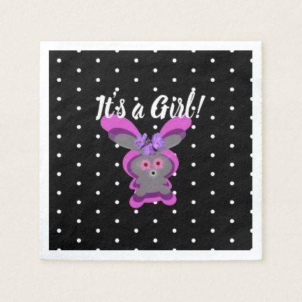 Cute Pink Bunny Black White Polka Dots Baby Shower Napkins Zazzle Com Baby Shower Napkins Polka Dot Baby Shower Bunny Baby Shower