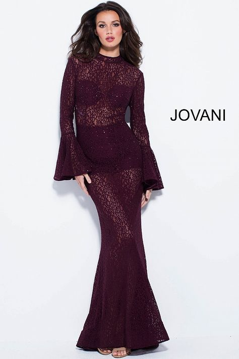 a83fc198684 Floor length form fitting plum lace sheer prom dress features long bell  sleeve bodice with high neckline and open back