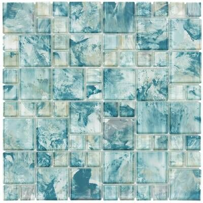Light Blue Marina Pool 3 x 3 Glossy Ceramic Mosaic Square Backsplash Tile