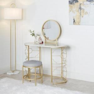 Silverwood Furniture Reimagined Brigitte 50 5 In 3 Piece Gold Vanity Set With Mirror Cpfv1171 The Decor Interior Design Vanity Set With Mirror Home Decor