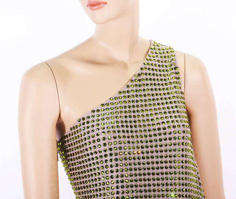 0e4ca133998 For Sale on 1stdibs - Tom Ford for Gucci Documented Fully Crystal  Embellished One Shoulder Dress Spring Summer 2000 Collection Designer size  42 Green ...