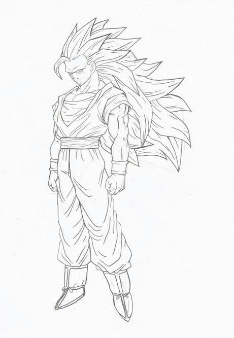 Desenho Goku Ssj 3 Dibujos Bocetos Pintar