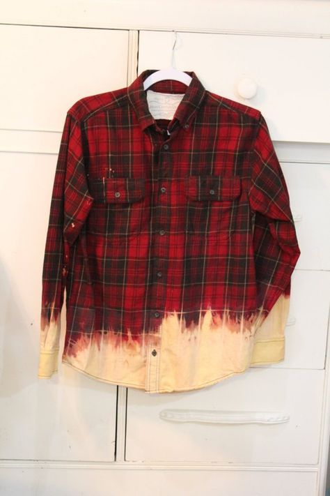 Flannel Shirt-Plaid-Upcycled-Bleached-Medium-Boho-Heavily Distressed-Worn Flannel-Unisex-Shirt-Christmas Gift