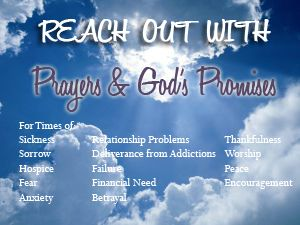 Prayers for every time of need, times of sickness, sorrow, failure, addiction, financial crisis, employment, forgiveness, relationship problems, thanks, peace, and more. Free.