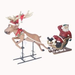 """Approx max dimensions: - Lifesize Reindeer 52"""" inches long, please note the sizes do not include the antlers. The sleigh carries a 4 foot Santa. Approx weight: - 51kgs Our Funny Flying Reindeer has a charmingly bemused look on his face, maybe he has had one too many sherries with Father Christmas! The model comes on the metal base and has a log yoke on his shoulders, a Christmas wreath around his neck and red ribbons with bells tied on his neck and antlers.Santa can be removed from the sleigh if"""
