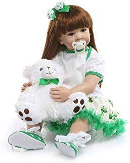 """24/""""Silicone Reborn Baby Doll Lifelike Toddler Girl Long Hair Dress Festival Gift"""