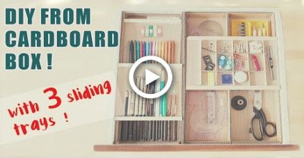 3 Level Cardboard Desk Drawer Organizer With Sliding Trays Recycle Diy Craft In 2020 Desk Organization Diy Diy Drawer Organizer Cardboard Drawers