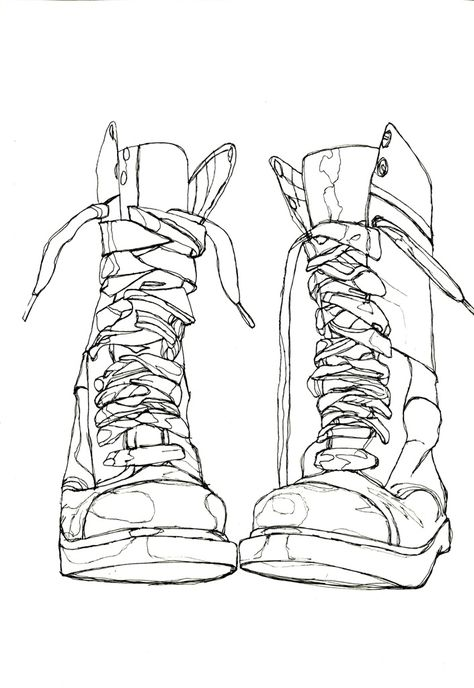 great contour line drawing I always had my students do this.the older the boots the better....