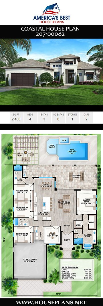 House Plan 207 00082 Coastal Plan 2 400 Square Feet 4 Bedrooms 3 Bathrooms Coastal House Plans Pool House Plans Courtyard House Plans