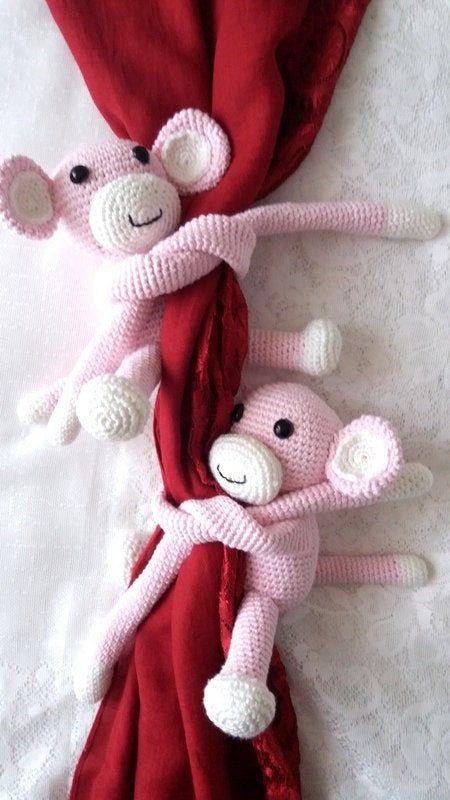 Monkey curtain tie back crochet PATTERN, tieback, left or right ... | 800x450