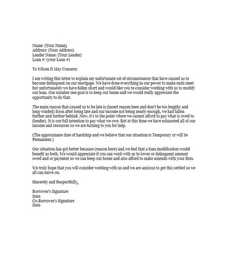 Hardship Letter Template   Property Taxes    Letter