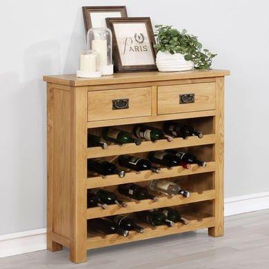 Rustic Saxon Wine Cabinet In Solid Oak With Storage Drawers Oak