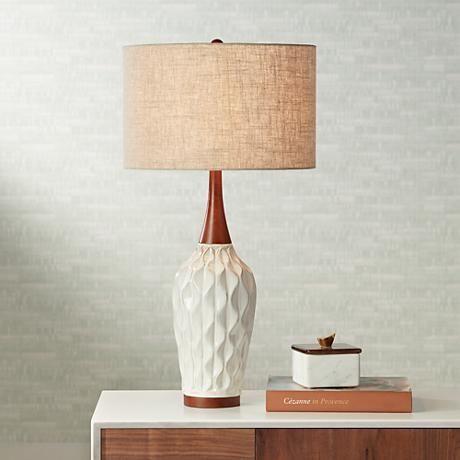 Rocco 30 High Mid Century Modern White Ceramic Table Lamp 9h565 Lamps Plus Mid Century Modern Table Lamps Mid Century Table Lamp Modern Table Lamp