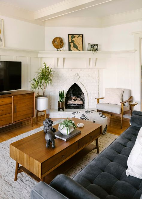 Likes, 102 Comments - West Elm Mid Century Modern Living Room, Mid Century Modern Decor, Mid Century House, Mid Century Style, Mid Century Interior Design, Mid Century Design, Living Room With Fireplace, Home Living Room, Apartment Living