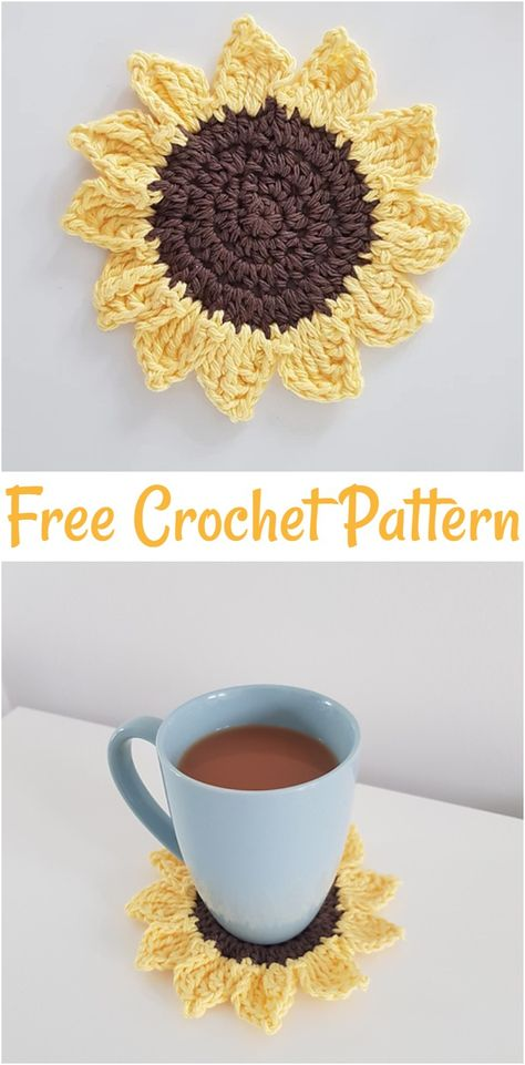 Free crochet coaster patterns,Free Crochet Sunflower Coaster-These free crochet coaster patterns are so cool and would be appreciative by all of your visitors and crochet enthusiasts and really amazing and stylish too. #freecrochetpatterns #crochetpatterns #crochetcoasterpatterns