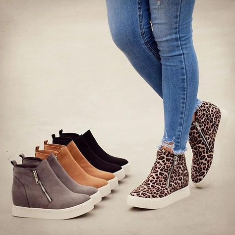 Women Boots Long Black Boots Tan Ankle Boots Outfit Boots To Wear With Black Jeans Jeans Ankle Boots Outfit Sneaker Outfits, Sneaker Heels, Wedge Shoes Outfits, Red Shoes, Style Converse, Converse Outfits, Leopard Sneakers, Casual Sneakers, Wedge Sneakers Fashion