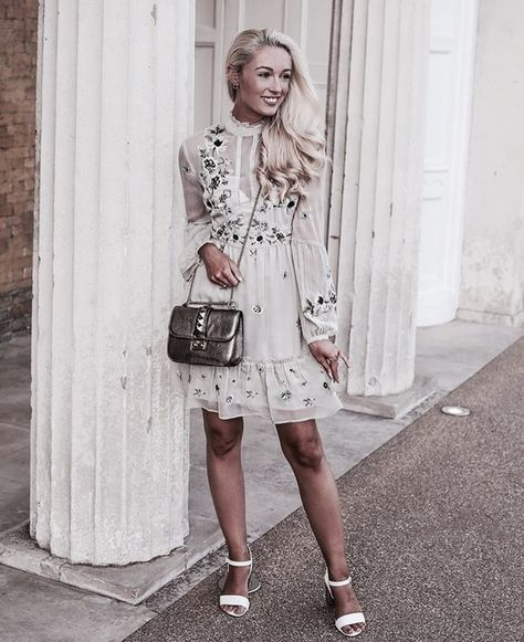 Pinterest: •Linell•   Cute floral embroidered dress.