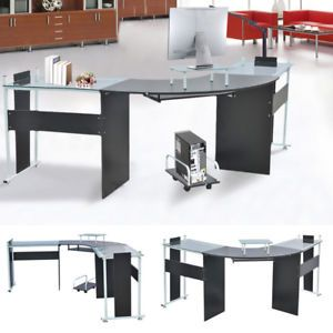 Workplace With Computer Table Of Glass Image Is Loading Official Office Desk Glass Metal Computer Stand Table Lyqcnvs Furnish Ideas Office Desk Computer Table Glass Top Table