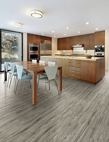 Acadia Smoke Flooring Looks Gorgeous In This Beautiful Kitchen Luxury Vinyl Home Legend 4mm Vinyl Aca Vinyl Wood Flooring Vinyl Flooring Luxury Vinyl Plank