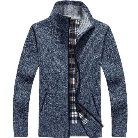 Men Cardigan Thick Faux Fur Wool Casual Knitwear Plus Size M-4XL - Blue / L