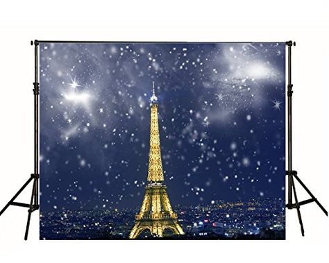 ALUONI 5x3ft Paris Color Eiffel Tower Background with Stars and Butterflies City Backdrop for Photography Photo Background Props Photography AM025849