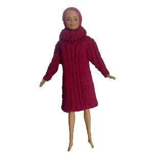 Stickad klänning barbie | Mönster till dockkläder